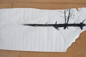 Unfinished drawing, undergrowth, 150 x 60 cm, conte on paper
