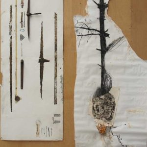 drawing, objects, etching, rust, 175 x 220 cm