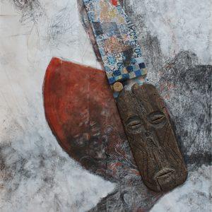Tekening, 2010-2013, 150 x 265 cm, masker van Klaas de jonge, print van Lieve Prins met werk van Elio Scintu en mijzelf